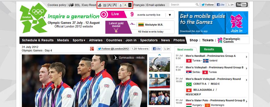 London 2012 Olympics 웹 접근성 사례