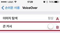 VoiceOver 설정화면