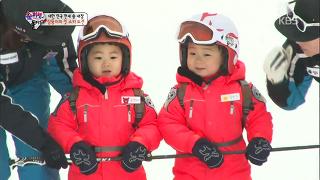 삼둥이의 첫 스키 도전! 민국-만세 활강실력은? [슈퍼맨이 돌아왔다] 20150118 KBS
