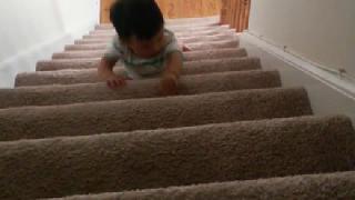 계단으로 운동하는 아기