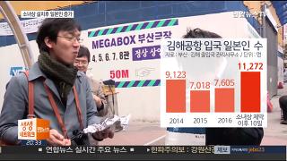 '부산 소녀상' 설치 후 일본인 입국 '껑충'