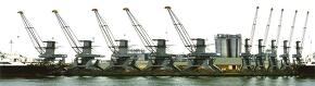 HDRI (공업단지, 기계, 녹색, 시멘트, 철, 바다, 노랑색)