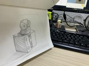 부엉이~ 장남감..연필그림.