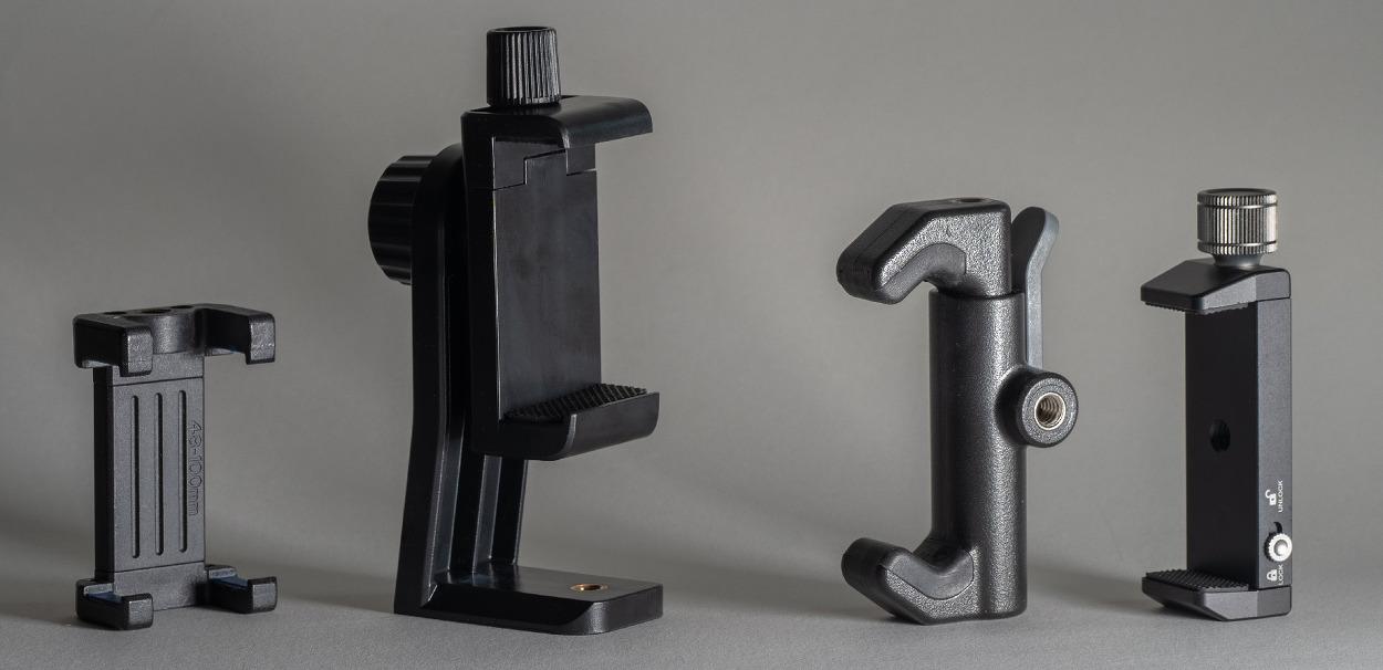 삼각대용의 네 가지 폰 마운트 비교/Comparison of four tripod mounts for smartphones