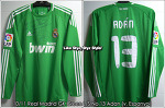 10/11 Real Madrid GK Green No.13 Adan Match Worn Shirt (Vs. Espanyol, 13 Feb 11)