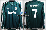 12/13 Real Madrid 3rd L/S No.7 Ronaldo Match Worn Shirt (Vs. Manchester Utd. 05 Mar 13) (SOLD OUT)