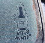추운 겨울, 꽁꽁 얼어있는 창문에 광고 메시지를 새겨라! - 무초 부리토(Mucho Burrito)의 스탬프형 옥외광고.