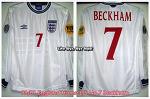 99/01 England Home L/S No.7 Beckham - Euro 2000 ver.