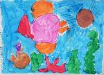 물감으로 표현한 바다와 물고기