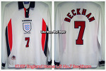 97/99 England Home L/S No.7 Beckham - France 98 WorldCup