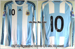 """08/10 Argentina Home L/S No.10 """"Messi"""" Match Issued (Vs. Columbia 06 Jun 2009) (SOLD OUT)"""