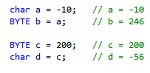 char 과 BYTE 자료형의 상호 이동할 경우 값의 변화