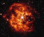 빠르게 활활 타오르는 별 WR124