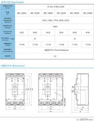 MCCB 배선용차단기 진흥전기 JBE-202M / JBS-202M [하이테크 고차단]   225AF   제품사양 및 단가표