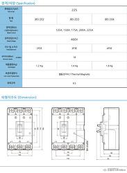 MCCB 배선용차단기 진흥전기 JBS-204   225AF   제품사양 및 단가표