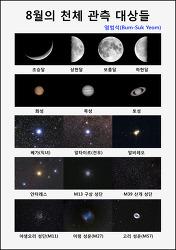 8월의 천체 관측 대상들