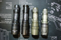 Surefire EDCL1-T Size comparison with EB1, E1L-A, E1L, EB2 and SC62d
