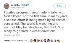 트럼프 북미 회담 가능성 Possible progress being made in talks with North Korea