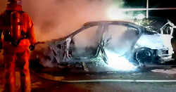 BMW 520d 화재, 뼈대만 남은 차량 충격 모습