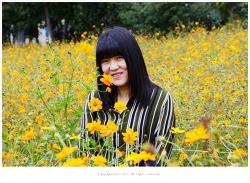 올림픽공원 들꽃마루 황화코스모스 속에서 활짝 - 영원