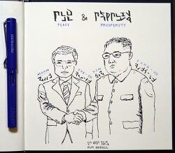 [자작그림] 문재인(Moon Jae-In) & 김정은(Kim Jong-Un) : 남북정상회담
