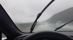 테슬라 모델S 폭우, 태풍도래시의 사이드미러 영상