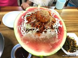 여름아 안녕! 여름 막바지에 먹은 시원한 <수박빙수> /화평동 냉면