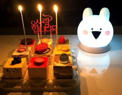 배스킨라빈스 크리스마스 아이스크림 케이크 & 오버액션 시크릿 오르골 램프(오버액션토끼 & 꼬마 곰)