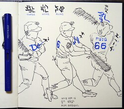 [자작그림] 3 Home Runs (3개 홈런) - Yasiel Puig (야시엘 푸이그)