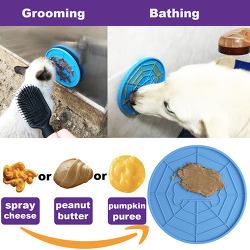 AKDEA Dogs Buddy for Bathing, Grooming, Calming - Durable Silicone Dog Lick Pad with Super Strong Suction Cup - Just Need Peanut Butter (Dia 5.9″ Dog Distraction Device)