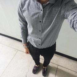 데일리룩/데일리코디, 본 체크셔츠 + 컨셉원 히든밴딩 슬랙스 + 락포트 셰익스피어