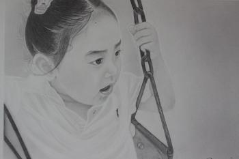 딸아이 그리기 2 - 연필초상화연습