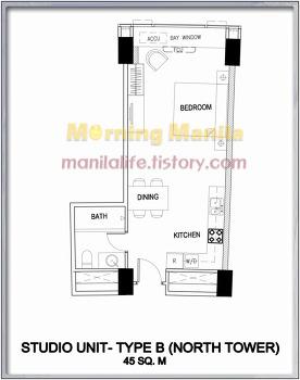 One Shangri-La Place - Studio Type B Unit Layout