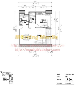 Manila Makati Condo For Sale Rockwell Edades Tower And Garden Villas Unit Layout No.09 1BR 66 SQM
