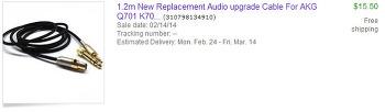 [Ebay] AKG K702 용 교체 케이블