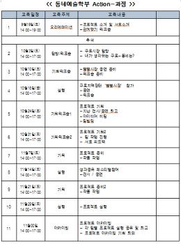 [동네예술학부]Action-과정 수업계회표!