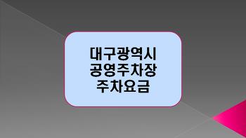 대구광역시 중구 공영주차장 주차요금