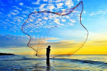 베트남 바닷가 투망고기작업 7ㅡ5