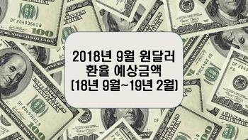2018년 9월 원달러환율 예상금액(9월~19년 2월)