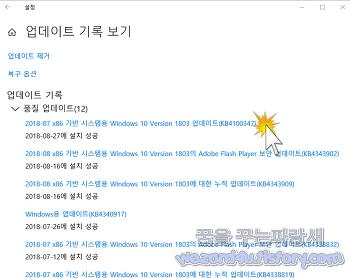 윈도우 10 v1803 KB4100347 인텔 마이크로 코드 업데이트