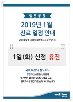 [웰튼병원 안내] 2019년 1월 진료일정 안내(신정 휴진)