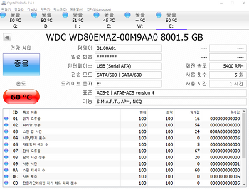 웬디 엘레멘츠 WD80EMAZ-00M9AA0 8TB 온도