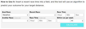 10K, 하프마라톤 속도로 마라톤 완주시간(속도) 예측 계산기