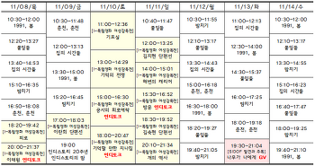 [11.08-11.14 상영시간표] 밤치기 / 1991, 봄 / 집의 시간들 / 풀잎들 / 춘천, 춘천