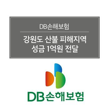 DB손해보험, 강원도 산불 피해지역에 성금 1억원 전달