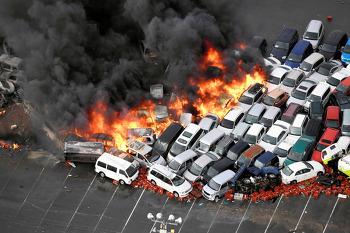 일본 21호 태풍 제비 피해 속출 차량 전복 화재 오사카 시내 상황 영상