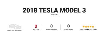 테슬라 모델3 안전성 테스트 모든 영역 퍼펙트 5점