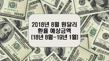 2018년 8월 원달러환율 예상금액(8월~19년 1월)
