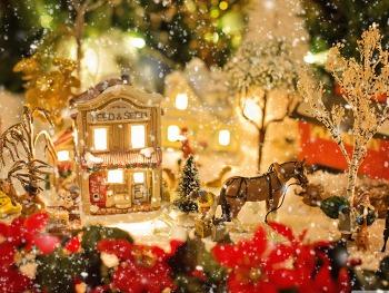 컴퓨터 배경화면 고화질  Christmas Village HD Wallpaper 무료 배경 이미지