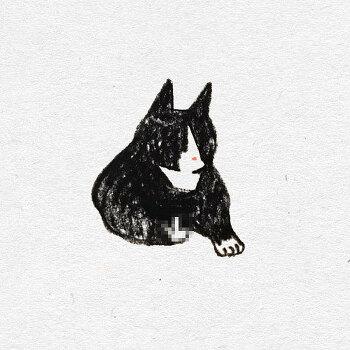 고양이 색연필 일러스트 4